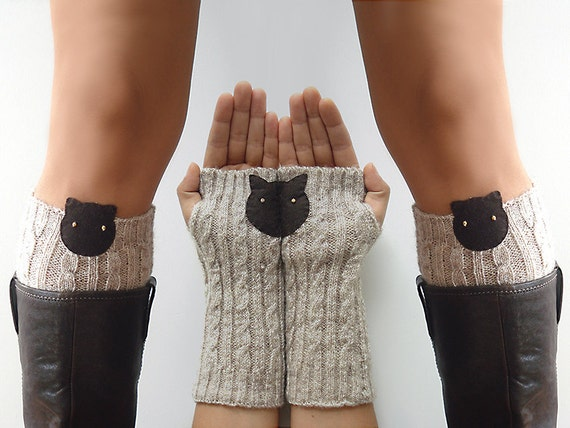 CHRISTMAS GIFT, EXPRESS Shipping, Boot Cuff, Cat Armwarmers, Cat Gloves, Arm Warmers, Gift For Her, Cat Lover, Kitty Boot Cuff, Winter Gift