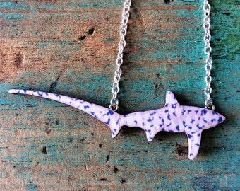 Shark Necklace / Thresher Shark Necklace - Pink Speckle