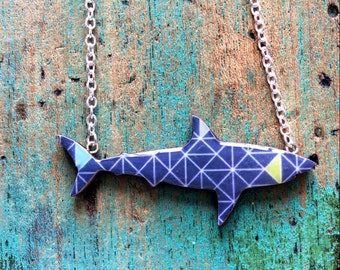 Shark Necklace / Great White Shark Necklace - Gray Geometric