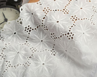 Cotton Lace Fabric in White, Retro Hollowed Flower Lace Embroidery Fabric Lace,Weddings Lace,14.56inches wide 1 yards ,MS119