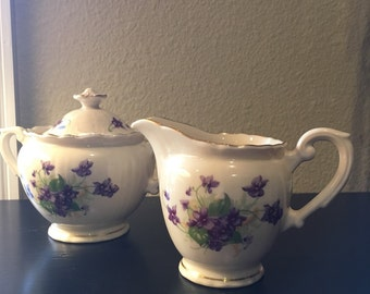 Vintage Violets by Syracuse China Federal Shape Creamer and Lidded Sugar Bowl