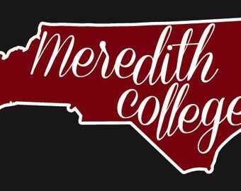 Meredith College (Shape of North Carolina) Decal Free Shipping