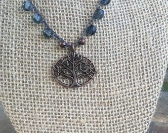 Beaded Crocheted Necklace with Tree Pendant