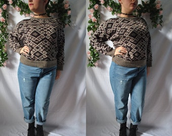Vintage 80s New Wave Sweater Grandma Sweater Vintage Acrylic Knit Sweater 80s Cosby Sweater Vintage Hipster Sweater Comfy Pullover Sweater