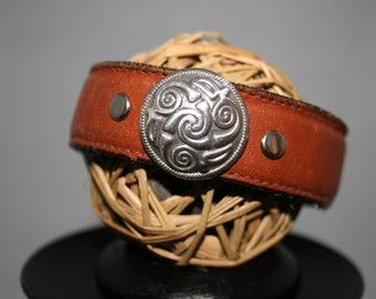 Leather cuff bracelet - celtic - hand made - one of a kind  - Cuff You by Suz