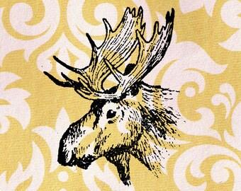 Moose Stamp: Wood Mounted Moose Head Rubber Stamp