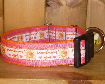 18 - 27 ins Large Wide Dog Collar - Pink Orange Sunshine Girl