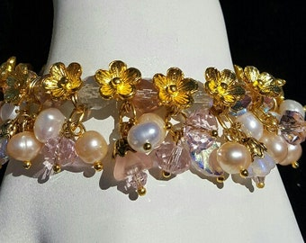 Pink Crystal & Pearl Cha Cha Bracelet