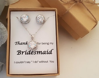 Bridesmaid Jewelry Set ,Bridesmaid Gift,Maid of Honor Jewelry Gift Box, Halo Set