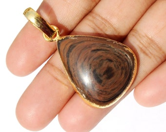 46x24 mm 24k Gold Electroplated Edge Gold Sheen Obsidian Heart Cabochon Pendant, Gold Layered Single Bail Pendant EP67