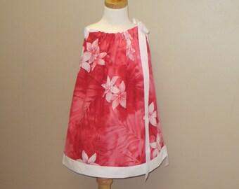 Girls Pillowcase Dress, Girls Sundress, Hawaiian Print Dress, Matching Doll Dress