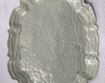 Lace in porcelain plate tray dish
