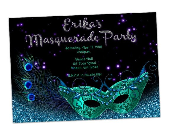masquerade invitations for sweet 16