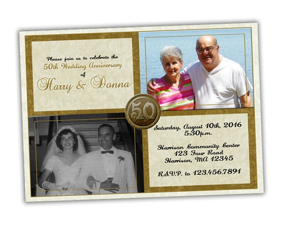 Golden Wedding Anniversary Invitations: 50th Wedding Anniversary Invitation Then And Now Golden 50th