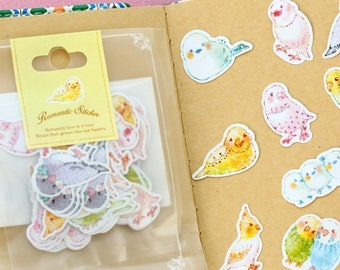 Cute Birds Flake Sticker Sack 70Pcs