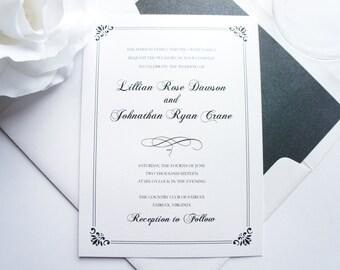 Classic Wedding Invitations, Elegant Wedding Invitation, Formal Wedding, Black Tie, Black and White Wedding Invitation - SAMPLE SET