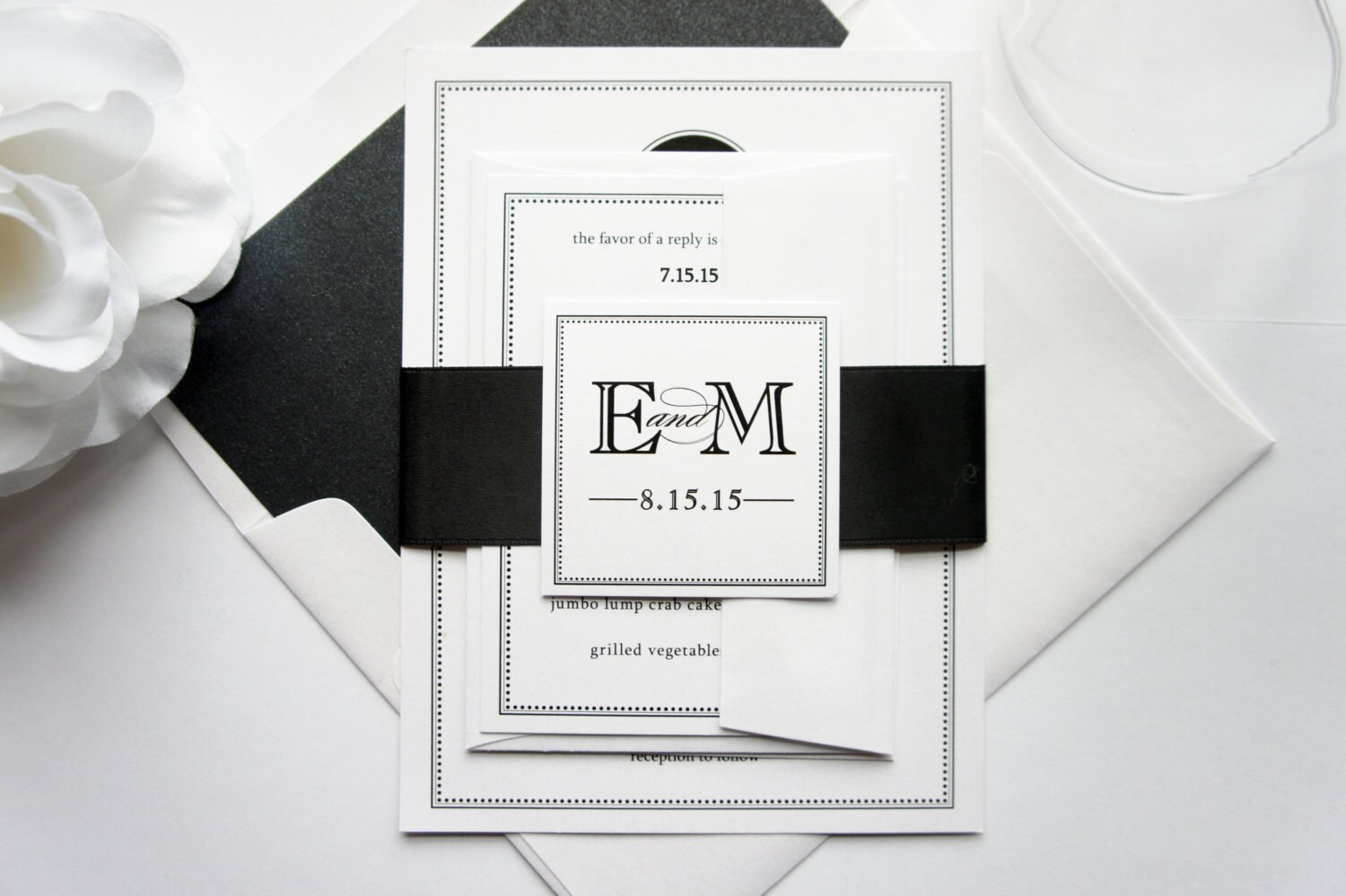 Contemporary Wedding Invitations: Simple Modern Wedding Invitation Black Wedding Invitation
