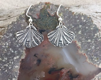 Sea Scallop Silver Earrings