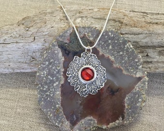 Coral with Garnet CZ Silver Pendant