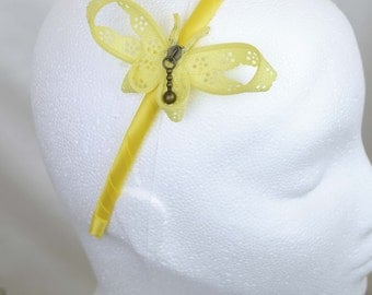 Yellow zipper butterfly hairband - zip hair accessory handcrafted by habercraftey - satin wrapped headband