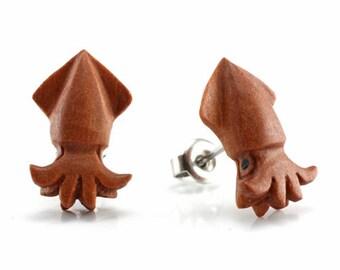 "Hand Carved - ""Squid"" - Wood Stud Earring - Marina Bay"