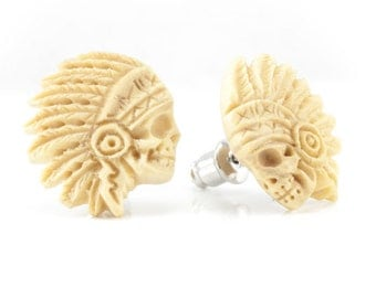 "Hand Carved - ""Crazy Horse"" - Wood Stud Earring - American Frontier"