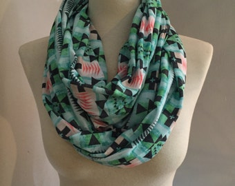 Blue Textured Tribal Circle Scarf
