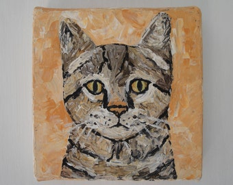Free Shipping Cat Portrait Palette Knife Painting, 6x6 Inches Pet Portrait Acrylic Painting