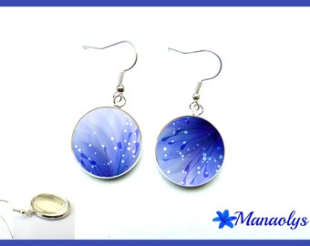 Blue fairies, glass cabochons earrings