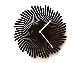 Supernova black - unique handmade wooden wall clock, a wall art