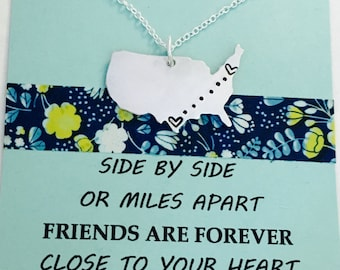 Long Distance Necklace, Personalized United States Necklace, Long Distance Necklace, Best Friends Necklace, Moving Away Gift