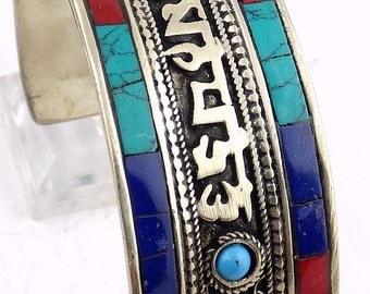 Jewelry Tibetan BRACELET mantra chenrezi coral lapis lazuli turquoise ref bhb3.2