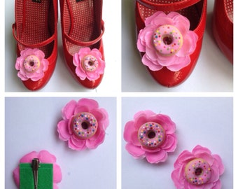 Strawberry Donut Shoe Clips