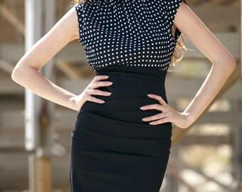 Office dress Polka dot dress Combined dress Jersey dress Business woman dress Spring Black dress