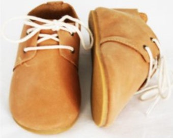 Brand New 100% Tan Leather Oxford Shoes Boys Girls Hard Sole