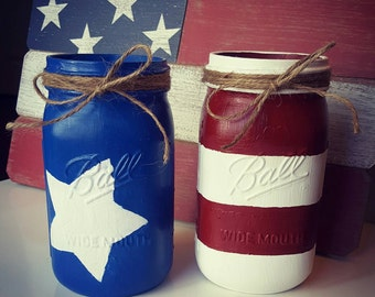 Set of 2 Patriotic Mason Jars - 4th of July Centerpieces - American Flag Decor - Red White Blue Mason Jars - Patriotic Decor - 4th of July