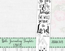 Bible Journaling Printable, Bible Journal Template, Bible Doodle Print, As For Me And My House, Joshua 24:15, Bible Drawing Template, Art