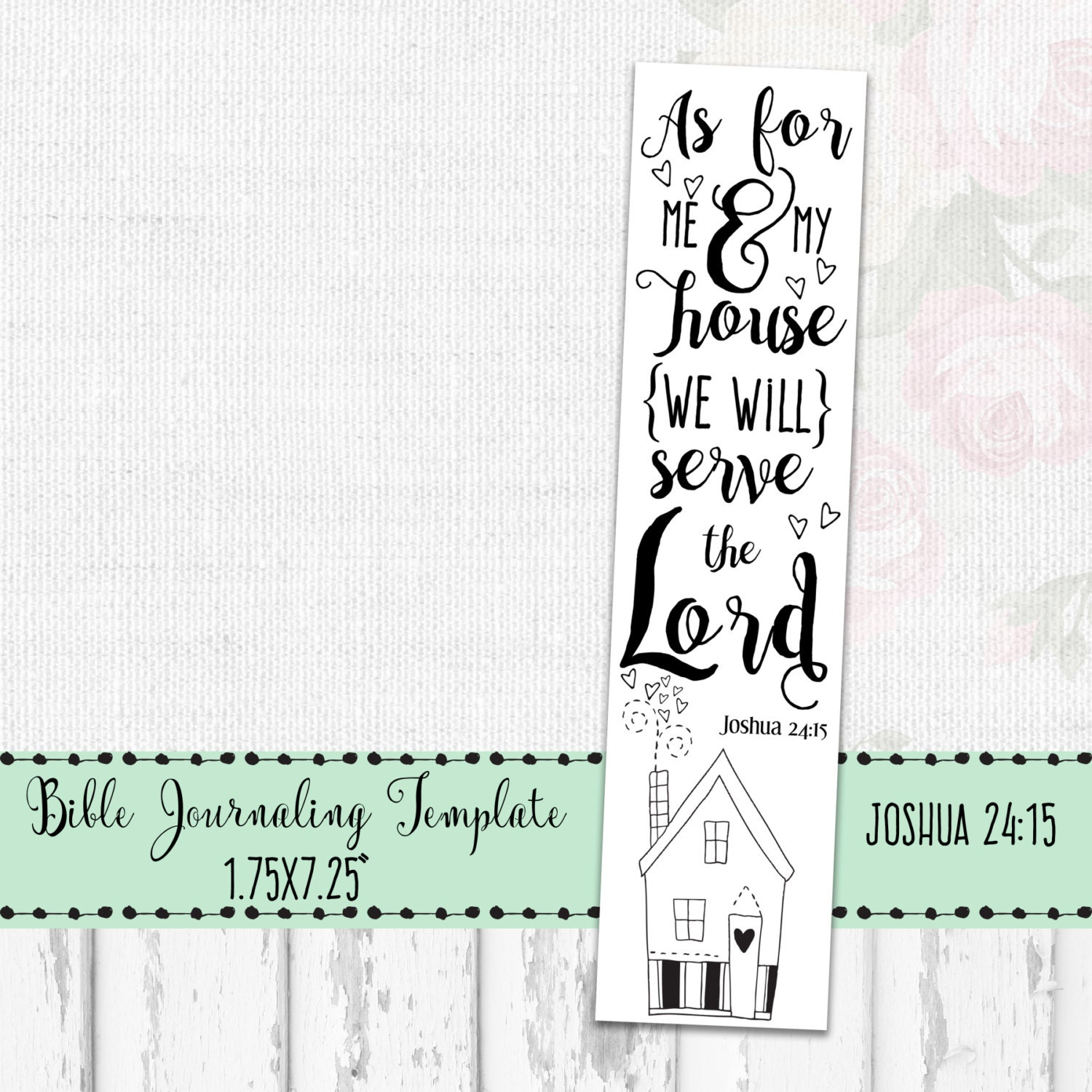 Religious bookmarks to color - Bible Journaling Printable Bible Journal Template Bible Doodle Print As For Me And My House Joshua 24 15 Bible Drawing Template Art