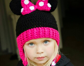 Minnie Mouse Crocheted Beanie with Earflaps, braids and large pink bow. ...custom made