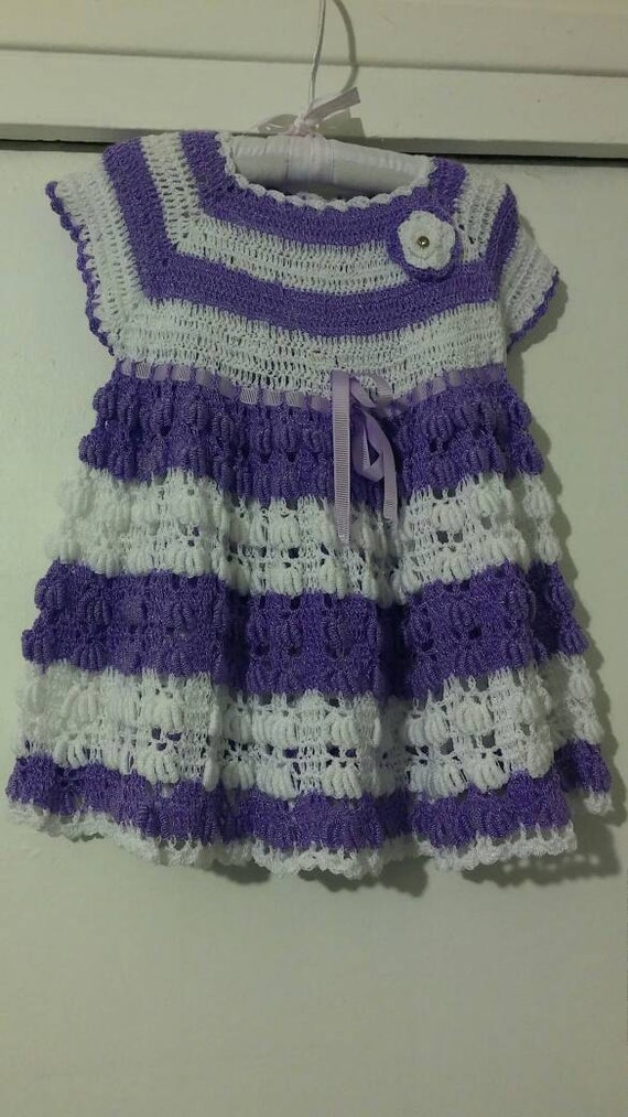 Purple and white crocheted baby girl dress