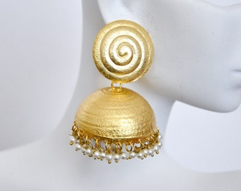 Matt gold jhumki Earrings   | Indian Jewelry | Indian Earrings | South Indian Jewelry | gold earrings