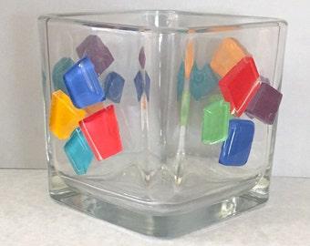 Beaded votive, beaded candleholder, mosaic votive, table decor, candle centerpiece, glass votive, square votive, upcycled candleholder