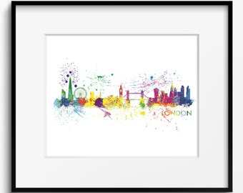London Skyline Watercolor Splash Art Print (577) Cityscape England United Kingdom