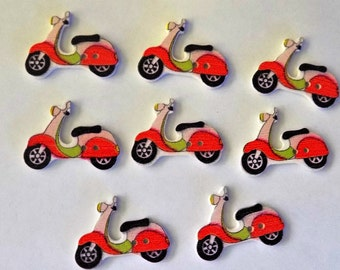 8 Wooden  Motorcycle  Buttons - #SB-00234