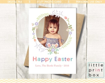 Digital Happy Easter Photo Card Template - Easter Photo Card - Easter Card Template - Personalised Card - Customisable Text & Photo