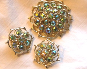 Vintage jewelry Sarah Coventry set brooch earrings rhinestone jewelry