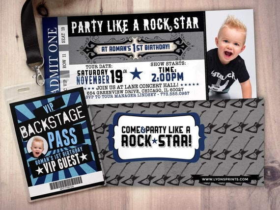 ROCK STAR concert ticket birthday party invitation Music invitation