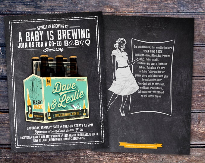 Coed baby shower invitation- Beer baby shower invitation- couples baby shower - girl baby shower - boy baby shower, baby is brewing,BBQ