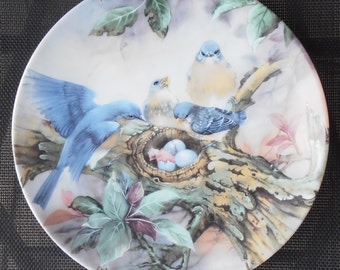 Song Of Promise Ceramic Art Plate by Lena Liu - Blue Birds - 1989 - Birds and their Young - Collectible Plate - Ceramic Plate - Epsteam