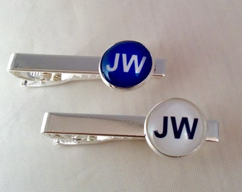 JW Tie Bar Eight Colors, Silver-tone or Antique Brass ,  Blue velvet gift pouch included.